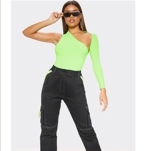 Neon lime one shoulder asymmetric bodysuit